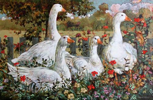 """Geese in the Garden"""
