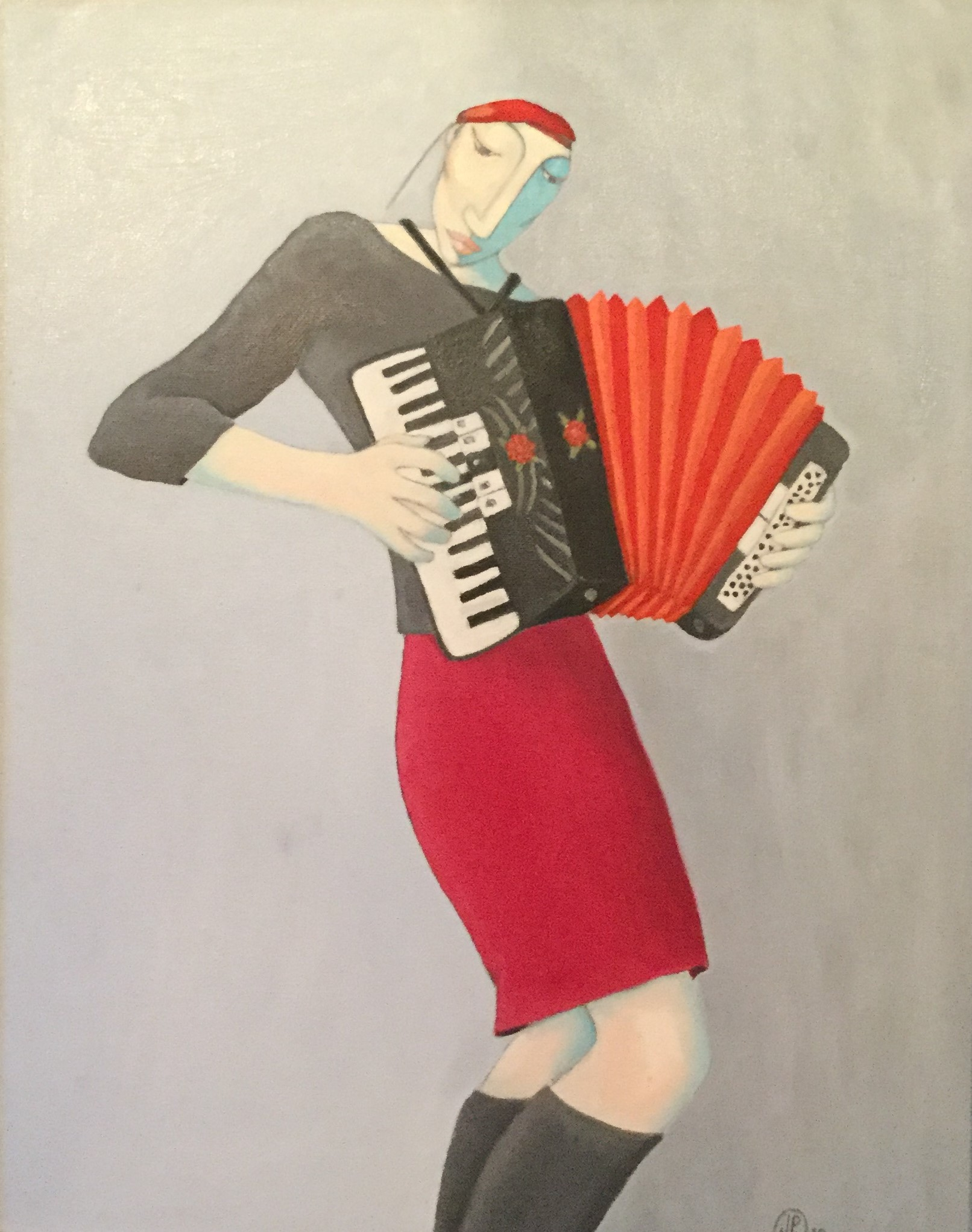 """Accordionist in Red"""