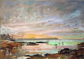 """Evening, breakwater, Holyhead"""