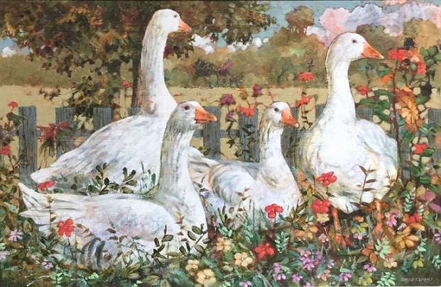 """Geese in the Garden"""